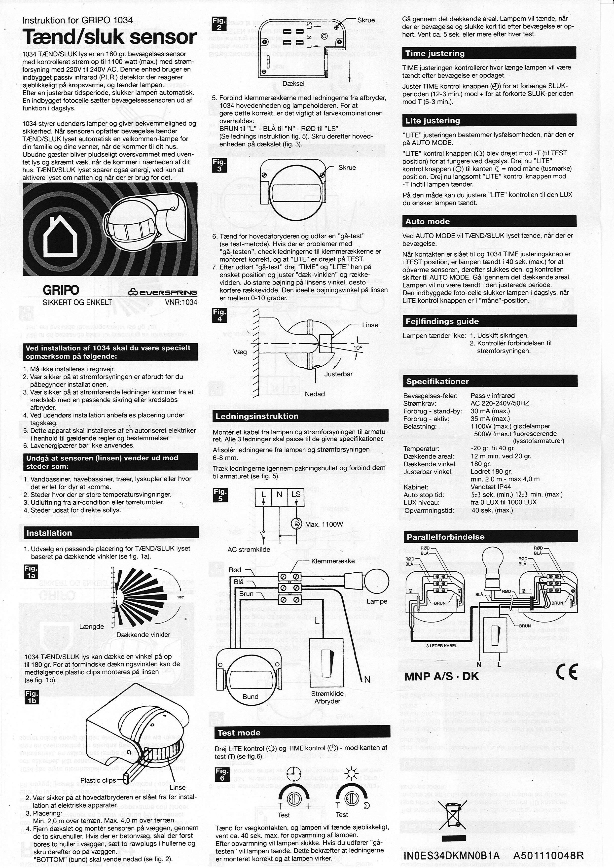 Montering af udendørs lyssensor